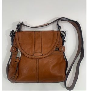 Fossil fifty four Carmel leather crossbody handbag